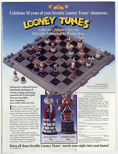 NIB 1991 FRANKLIN MINT LOONEY TUNES CHESS PEWTER +BOARD +COA +ALL INFO CARDS
