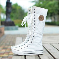 NEW Women's Shoes Punk EMO Sneaker Lace Up Zip Boot Knee High Flat Tall Boots