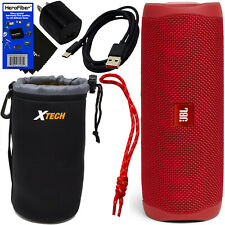 JBL Flip 5 Bluetooth Waterproof Portable Speaker,Red + Strap, Protective Pouch