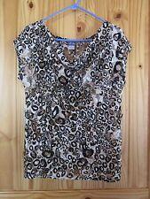 dots Women's Leopard Lace Short Sleeve Blouse Large L (fits like Medium M) EUC!