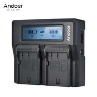Andoer DMW-BLF19E Dual Channel LCD Camera Battery Charger for Panasonic G4A8