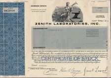 Stock Certificate  Zenith Labaratories, Inc New Jersey 1987-1988