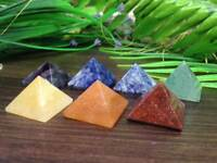 Set of 7 Chakra Pyramid Stone Set Crystal Healing - Chakra Set~ Random color