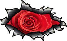 Carbon Fibre Fiber Ripped Open Torn Metal & Beautiful Red Rose Vinyl car sticker