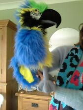 Polly Parrot blue /green bird big hand puppet with squalk beak educational soft