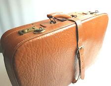 Alter Koffer Leder braun Vintage 50er 60er mid century