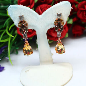 NATURAL 7 X 9 mm. GOLDEN YELLOW CITRINE QUARTZ & SAPPHIRE EARRINGS 925 SILVER
