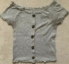 JUSTICE GIRL'S SUPER CUTE RIBBED GRAY SHORT SLEEVE SHIRT BUTTON ACCENTS SIZE 12