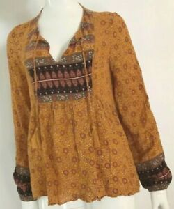 Boho peasant gypsy style mustard floral long sleeve blouse by Sportsgirl 14 (12)