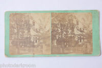 "Stereo View House with Family by Gilman Gardner Boston MA ~3 3/8x7"" VINTAGE B72B"