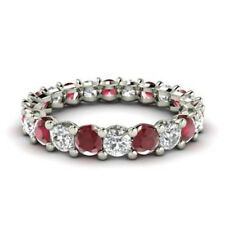 2.03 Ct Real Diamond Ruby Eternity Band 14K Solid White Gold Ring Size L M N O P