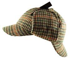 Ki Gorro de Cazador Sherlock Holmes 2 Peak / Orejeras Tweed Cuadros Lana Mezcla