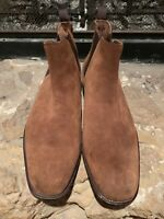 ALDO MARQ Mens Brown Genuine Leather Suede Chelsea Boots w/ Pull Tab