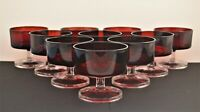 LUMINARC ARCOROC FRANCE  SET OF 10 RED AND CLEAR WINE GOBLETS CORDIALS