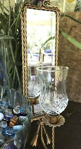 Vintage Home Interiors Twisted Rope Beveled Mirror Candle Holder Wall Sconce