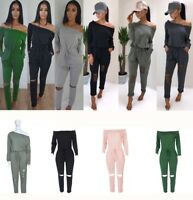 Womens Off Shoulder Long Sleeve Casual Jumpsuit Long Trousers Romper Playsuit