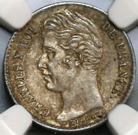 1829-W NGC MS 62 France 1/4 Franc Charles X Silver Coin (19090901C)