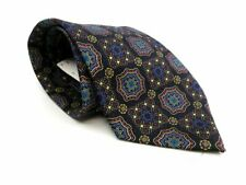 Brioni Men's Italian Silk Necktie Navy Purple Blue Red Beige Medallions NWT