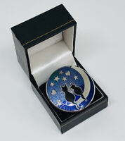 Celtic Sea Gems Silver Tone & Enamel Cat Couple Sitting On The Moon Scarf Clip