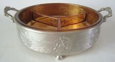 Vintage Forman Bros NY Holland SHIP Metal and Amber Glass Serving Dish
