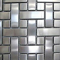 Basketweave Stainless Steel Mosaic Tile Backsplash Bath