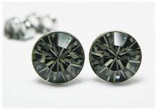 NEU Titan OHRSTECKER 8mm SWAROVSKI STEINE black diamond/schwarz-grau OHRRINGE