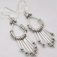 "UNUSUAL DESIGN, 925 Sterling Silver ETHNIC LONG Dangle Earrings 2.2"" HANDMADE"