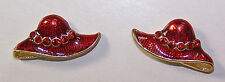 ENAMEL HAT SHAPED PIERCED EARRINGS FOR RED HAT LADIES OF SOCIETY