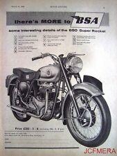 1959 Motor Cycle ADVERT - B.S.A. '650 Super Rocket' (£283-3s-8d) Print AD #2