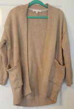Womens Victoria's Secret Oversized Cardigan Sweater Chunky Knit Tan Small EUC