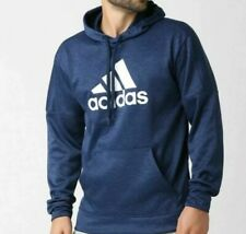 NEW MEN'S ADIDAS TEAM ISSUE FLEECE PULLOVER CLIMAWARM HOODIE SIZE M  BLUE
