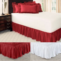 Bed Wrap Skirt Stretch Valance Dust Ruffle Queen King Single Double BedSkirt