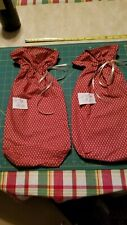 "Lt 10 Pair Wine Gift Bags All Occassion Red color print 16""x 7"" Reusable Fabric"