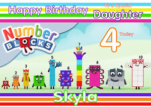 Number Blocks personalised A5 birthday card - any NAME AGE RELATION