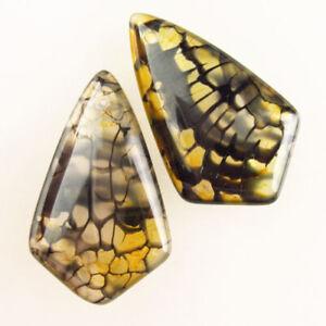 2Pcs 32x20x5mm Yellow Black Dragon Veins Agate Shield Pendant Bead F90195