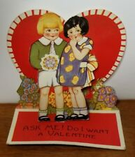 Vintage Valentine Stand Up Card - Cute Little Girl and Boy Big Heart - Used
