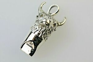Silver Whistle Stag Head Pendant Sterling Silver 925