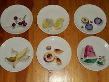 "GOOD FRIEND SPAIN Dessert Plates Hand Painted Fruits 6 Pc Set 7 5/16"" Large MCM"
