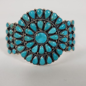 """Kingman Turquoise Cuff Bracelet 925 Sterling Silver Size 6.8"""""""