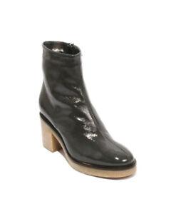 Cristina Elle 644b Gray Patent Leather Fleece Zip Ankle Heel Boots 36.5 / US 6.5