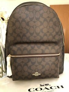 Coach Backpack Charlie LARGE Signature Style Leather Brown/black RP£475 Genuine