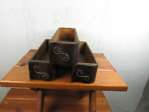 Sewing Machine Drawers (3) w/Brass S Shaped Pulls Great Look Solid Condition