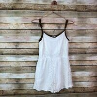 Knitworks Romper Girls Large L White Crochet Lace Brown Trim Shorts Tank FLAW
