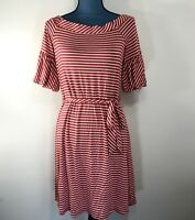 Spense Women's Casual Striped T-Shirt Dress Red White Boat Neck Tie Waist Size S