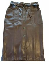 BURGUNDY FAUX LEATHER PENCIL SKIRT SIZE 12