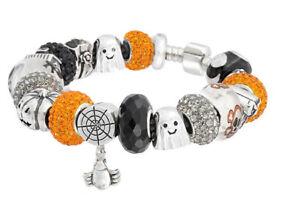 18k White Gold Plated Crystal CZ Halloween Charm Bracelet Made With Swarovski