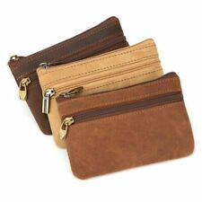 Leather Coin Purse Zipper Wallet Key Holder Small Money Bag For Men