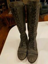 Charles David Regiment Lace-Up Boot. Size 7 Black - Dark Gray distressed EUC