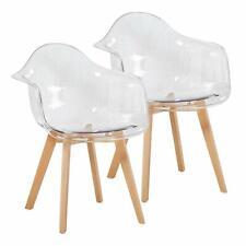 2er Set Transparent Sessel Skandinavisch Esszimmerstuhl Modern Wohnzimmerstuhl
