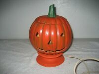 Vintage Halloween Pumpkin Head electric Lamp jack-o-lantern ceramic